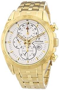 Reloj Festina F16656/1 de cuarzo para hombre, correa de acero inoxidable chapado color dorado (cronómetro, agujas luminiscentes) de Festina
