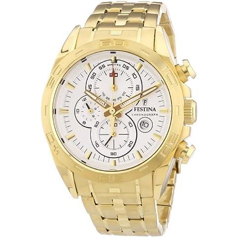 Festina F16656/1 - Reloj cronógrafo de cuarzo para hombre, correa de acero inoxidable chapado color dorado (cronómetro, agujas