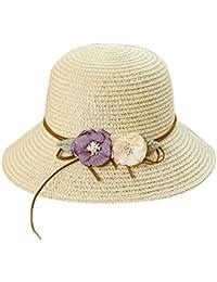 1dc0f4da14ddd Cap Mujeres Flor del Arco del Sombrero De Paja De Protección UV Floppy  Playa del Verano del Sombrero De Sun…