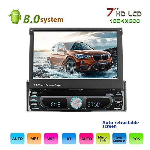podofo Android 8.0Auto Stereo Singel Din 17,8cm in Touch Screen GPS Navigation-INDASH DVD Player Lenkrad Control 1Din Autoradio FM/AM Hände Frei Calling AUX/FM/USB/iPod/MP3/MP4