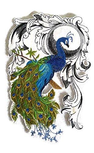 BeyondVision Erstaunlich Vögel Reich bestickte Eisen Nähen Patches 6,87 x 4,62 grau, schwarz, weiß, grün, rot (Mockingbird Patch)