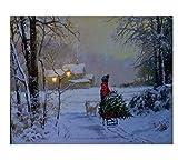 Weihnachtsbild mit Beleuchtung / LED Leinwandbild - 40cmx50cm - Batteriebetrieben - Schneelandschaft / Schlitten - 2 LEDs - Canvas Bild