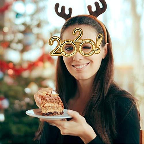 Frohes Neues Jahr Kostüm - Gorgeousy 2020 Frohes Neues Jahr Party Brille Kostüm Party Cosplay Prop Brille für Weihnachten Karneval