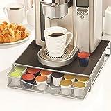 Bakaji Contenitore Porta Capsule e Cialde Caffè Nespresso Nescafè Lavazza In Metallo Cassetto Estraibile Silver e Top Nero