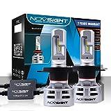 LED Ampoule H4 pour Voiture, NOVSIGHT 12V Lampe - Phare 60W(30W*2) 10000Lms(5000Lms*2), IP68 Etanche, 6500K Lumière Blanche, Garandie de 2 Ans, Lot de 2