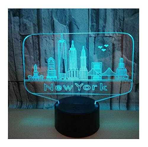 WFTD Kinder 3D Nachtlicht, 7 Farben LED Licht Acryl New York Graphics Nachtlampe USB Power mit Fernbedienung Nachttischlampe -