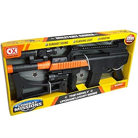 - Kinder Spielzeug Gun–G36C Gewehr mit Scope Schalldämpfer batteriebetrieben mit Beleuchtung, Effekte und Vibration