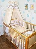 Baby Bettset -6 tlg- mit Bettwäsche Nestchen Vollstoff Himmel Bettausstattung D1