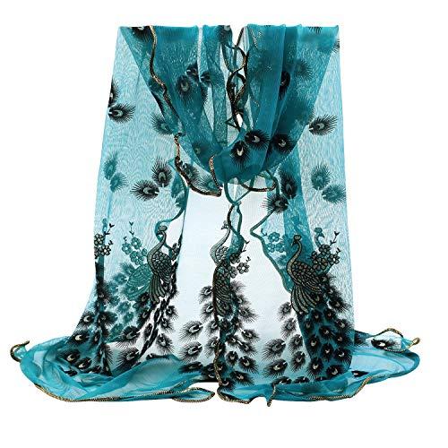 Bluelans Damenschal Weiche Blumen Pfau Printed Lange Schals Stola Modeschal (Hellblau)