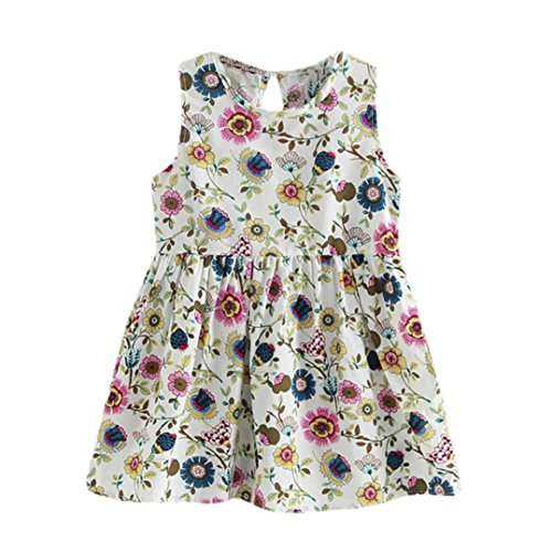 n Mädchen Kleid, Sommer Prinzessin Blumen Print Kids Party Hochzeit ärmellose Kleider, Kinder, Flower print, 3-4 Jahre (0 Bis 3 Monate Halloween Kostüme)