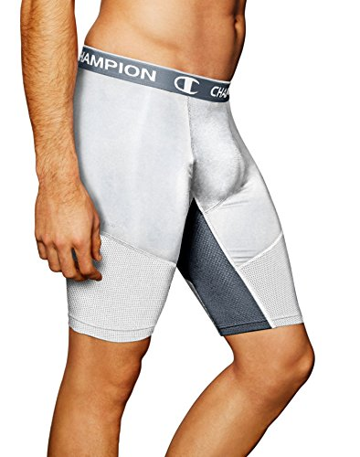 Champion PowerFlex 9' Men's Solid Compression Shorts_White/Stormy Night_Large