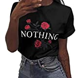 Luckycat Damen Nothing Rose Printing Sommer Lose Tops Kurz-Sleeved Bluse Shirt Mode 2018