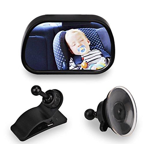 Preisvergleich Produktbild Rücksitz Auto Baby gekrümmter Spiegel Einstellbarer Rücksitzspiegel für Babyschalen mit 2 Halterungen Saugnapf oder Klammer (85×50 mm), bruchsicher