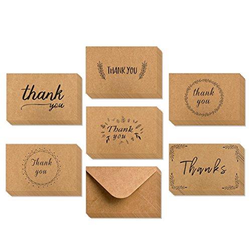 Dankeskarten, Ohuhu 36 Pack Braune Papier Dankeskarten Grußkarten W/ 36 Karton Umschläge für Grüße, Abschlüsse, etc, 10X15.2cm