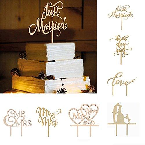 OULII apenas Casado Pastel bois Toppers gâteau toppers Fête Décoration de gâteaux Service de la mariage