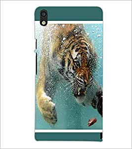 PrintDhaba Angry Tiger in Water D-1308 Back Case Cover for HUAWEI ASCEND P6 (Multi-Coloured)