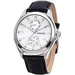 Comtex Men's Wrist Watch with White Dial Analog Display and Black Leather Day Date Casual Watches