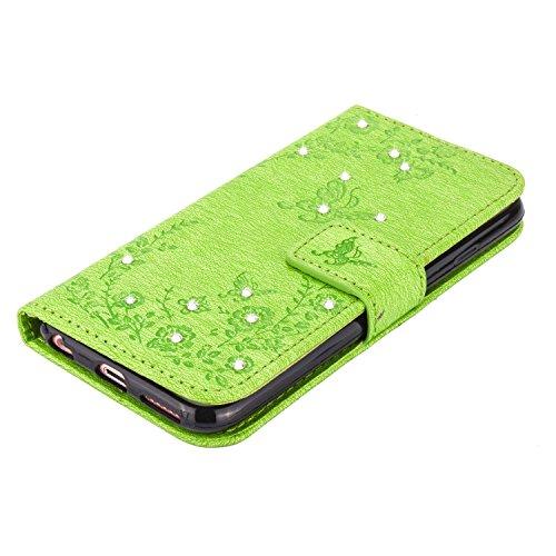 iPhone 6s Hülle,iPhone 6 Bling Tasche,iPhone 6s Lederhülle,TOYYM PU Leder Wallet Brieftasche Diamant Strass Bling Case Blume und Schmetterling Muster Design für Apple iPhone 6/6s,Bookstyle Schutzhülle Grün