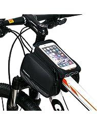 AKM Sac de guide bicyclette, Sacoche de cadre vélo pour smartphone Résister à l'eau Téléphone sous 5.7 pouce pour VTT vélo de route etc Téléphone de Poche amovible, noir