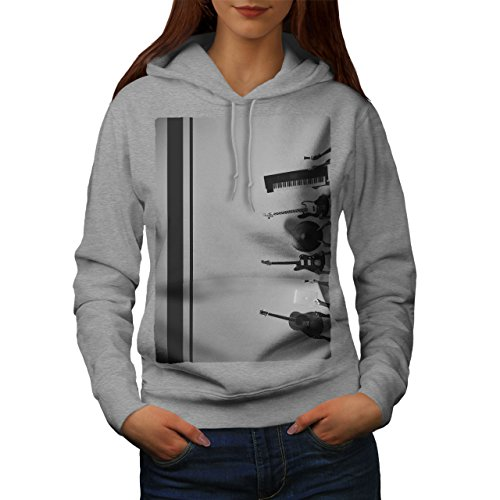 Basse Guitare Piano La musique Femme S-2XL Sweat à capuche | Wellcoda Gris