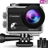 """Action Cam, Crosstour Sport Camera WIFI 1080P Full HD Impermeabile 2""""LCD 2 Batterie 1050mAh 170°Grandangolare e Kit Accessori per Ciclismo Nuoto e altri Sport Esterni"""