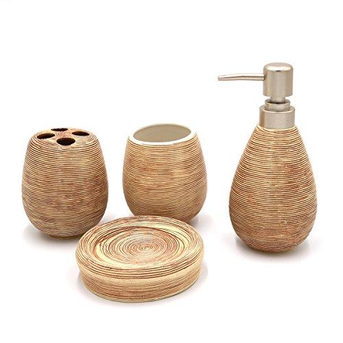 Asien Badezimmer-Set aus Keramik, 4-teilig, Seifenspender, Seifenschale, Zahnbürstenhalter, Zahnbecher, keramik, elfenbeinfarben, middle