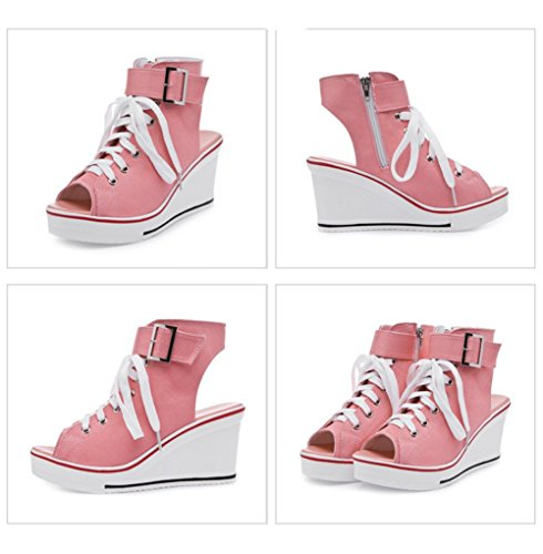 Baskets Mode Compens¨¦es Sneakers Tennis Chaussures Casuel Toile Femme Rose