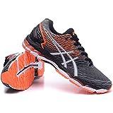 Hombres de luz acolchado Gel Nimbus 18Trail carretera Running Sport Competencia de Carreras de zapatos calzado zapatillas en Naranja y gris oscuro, hombre, gris oscuro, EUR44