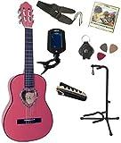 Pack Guitare Classique 1/4 Rose 7 Accessoires Pour Enfant Rosace En Coeur