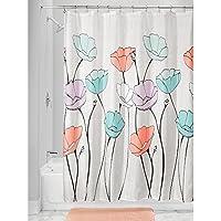 InterDesign Botanical Poly Cortina de ducha para el baño, cortina de bañera de poliéster con motivos florales de 183 cm x 183 cm, multicolor