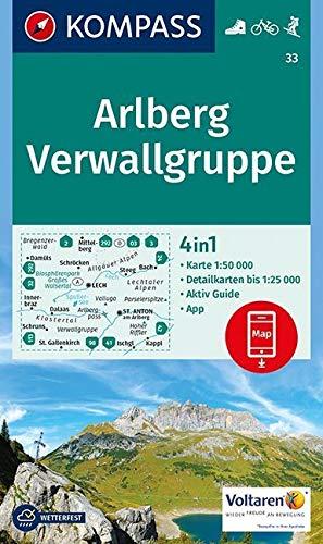 KOMPASS Wanderkarte Arlberg, Verwallgruppe: 4in1 Wanderkarte 1:50000 mit Aktiv Guide und Detailkarten inklusive Karte zur offline Verwendung in der ... 1:50 000 (KOMPASS-Wanderkarten, Band 33)