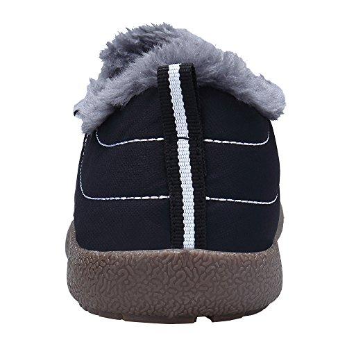 DENGBOSN Damen Winterschuhe Warm Gefütterte Pelz Outdoor Schneestiefel Stiefeletten Boots Booties Schwarz