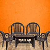 #7: Italica Furniture - Armchair and Table Combo - Indoor and Outdoor Furniture Set(9201 & 9503, Brown, Set of 4 Chairs)