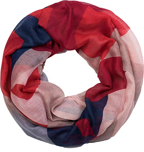 styleBREAKER Damen Loop Schal mit geometrische Dreieck Zacken, Schlauchschal, Tuch 01017091, Farbe:Rot-Blau-Weiß