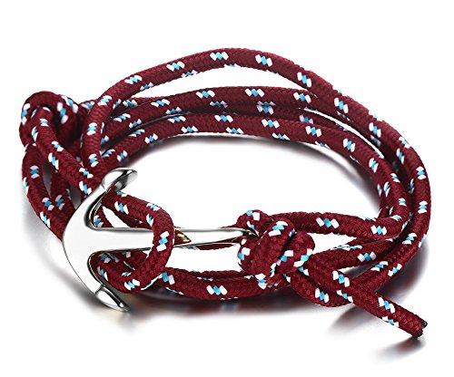 Vnox Acciaio inossidabile rosso scuro di nylon corda intrecciata Maritime Anchor vichingo spostano il braccialetto,argento - 14k Oro Nautico Anchor