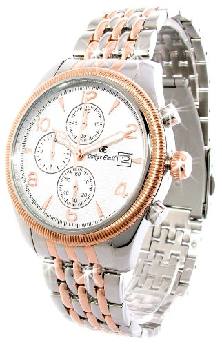 Oskar Emil Gents Fribourgh 23K Gold Steel Chronograph Watch with White Dial