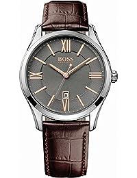 Hugo Boss Herren-Armbanduhr XL Ambassador Round Analog Quarz Leder 1513041