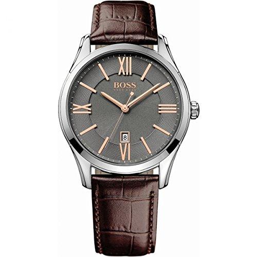 Hugo Boss Herren-Armbanduhr XL Ambassador Round Analog Quarz Leder 1513041 (Hugo Boss Leder Braun)