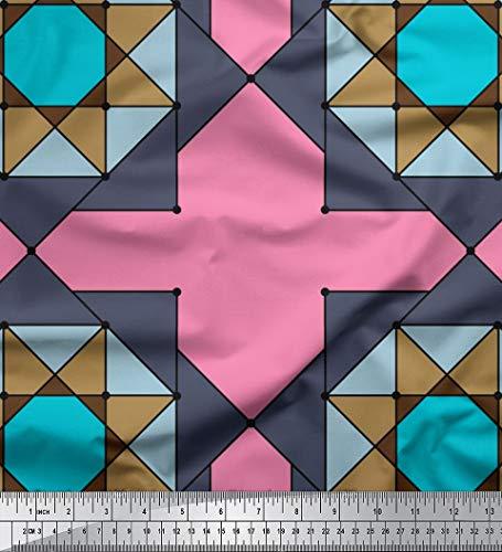 Soimoi Rosa Baumwolljersey Stoff geometrischer Stern geometrisch Stoff Drucke Meter 58 Zoll breit