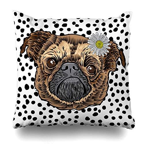 Klotr Decorative Fundas Almohada Pink Baby Close Pug