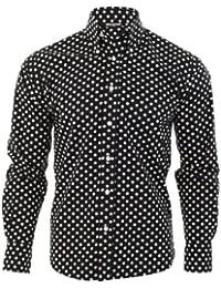 Negro de la camisa hombres de lunares, Classic diseño Vintage de Mod–Relco