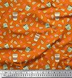 Soimoi Orange Viskose Chiffon Stoff Blätter, Tasse Tee und