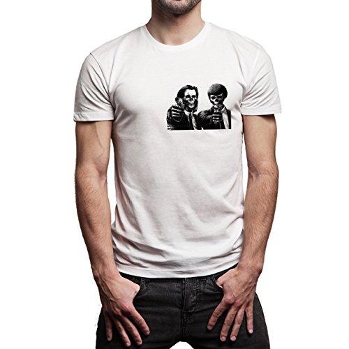 Pulp Fiction Ouentin Tarantino Movie Skull Background Herren T-Shirt Weiß