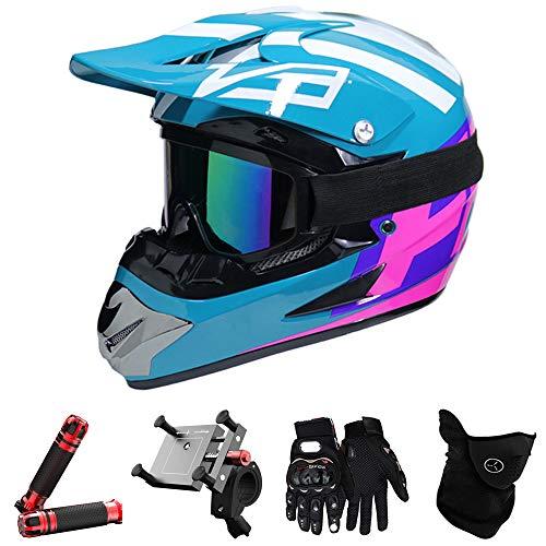 QYTK® Full Face Motocross Helm Motorradfahren Enduro Herren Set, MT-47 Off-Road Motorradhelm mit Visier Brille Handschuhe Maske Motorrad Griffe Handyhalter per ATV Moped Schneemobil Blau Lila,M