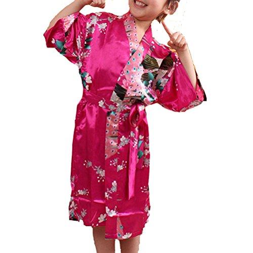 Laixing Haute Qualité Lovely Wedding Flower Girls Satin Sleepwear For Kids Dress Gown CL-G01 Rose Red