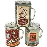 Bote Salero metal con mango con Coffee Diseño para azúcar glas Cacao Back ingredientes 3unidades
