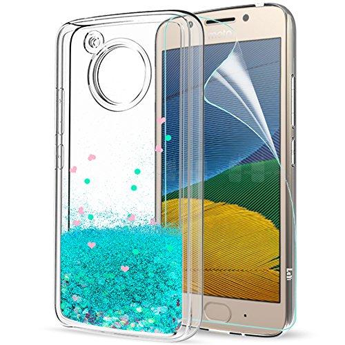 LeYi Funda Motorola Moto G5 Purpurina Carcasa con HD Protectores de Pantalla, Brillante Liquida Ballistic Cristal Transparente TPU Ultrafina Silicona Fundas Case Carcasas para Movil Moto G5 ZX Azure