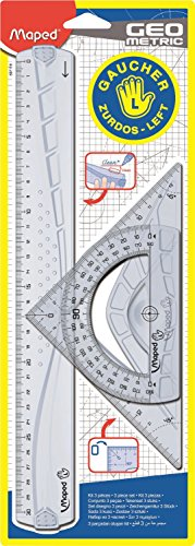 Maped 897118 Geometrie-Set für Linkshänder, 3-teilig, Transparent