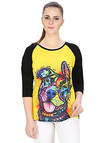 Muse Dog Sniffing Colors Multi Color Raglan TShirt | Tee for Women - S