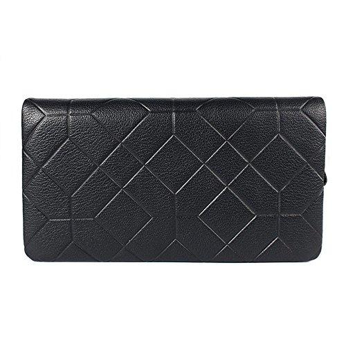 RLJJCS Herren-Einkaufstasche aus hochwertigem Leder mit hoher Kapazität Business Clutch Business-Tasche aus Leder Geometrisches Muster Geldbörse Blau Schwarz Brieftasche - Importierte Designer-taschen